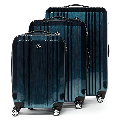 FERGÉ Dreier Kofferset mit TSA Zahlenschloss CANNES - 3 Trolley-Hartschalenkoffer mit 4 Zwillingsrollen - Trolley-Koffer royal-blau