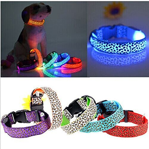Pesp® Pet Dog Colorful Leopard Flash Necklace LED Light up Glow in Dark Night Safety Collar Adjustable (Purple, Small)