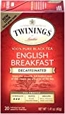 Twinings Tea, Decaf Black Tea, English Breakfast, 20 Count (Pack of 6)