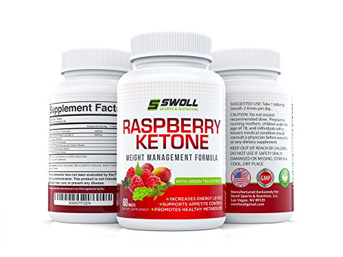 Raspberry Ketones w/ Green Tea Extract, Mango, Acai Berry, Green Coffee by Swoll Sports & Nutrition, 500mg/60 Caps - Fast Weight Loss Diet Pills Supplement- Energy Booster, Increase Metabolism, Fat Burner - Pure Vegan Capsules