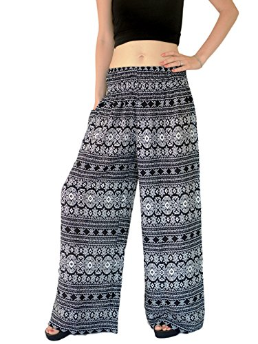 Orient Trail Women's Aztec Tribal Design Yoga Wide Leg Harem Pants ...