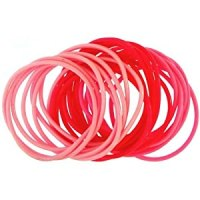 Set Of 24 Rubber Bracelets In Pink