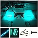 カー内部LED装飾ライト シングルカラーモード 36ランプビーズ 高輝度 車内フロア ライト イルミネーション 車内 ネオンシガーソケット(ライトブルー)