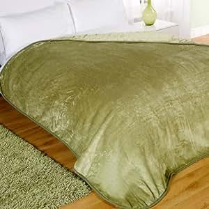 Mink Faux Fur Throw Fleece Blanket Lime Green 200 x