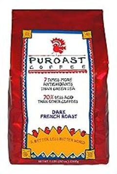 Puroast Low Acid Coffee French Roast Whole Bean, 5 Pound Bag