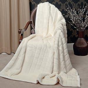 Amazoncom Faux Fur Throw Blanket 58quot x 60quot White Mink