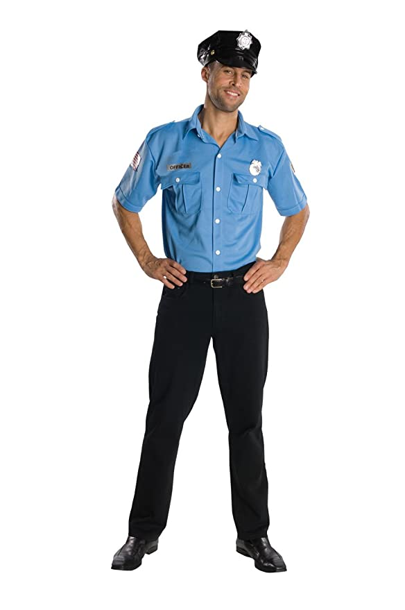 Rubie's Costume Heroes And Hombres Adult Police Officer Shirt And Hat, Blue, Standard