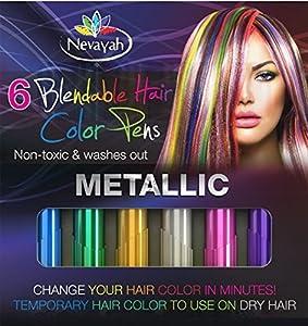 nevayah hair chalk temporary hair multicolor dye pens purple sapphire blue