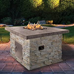 Amazon.com : Natural Stone Propane Gas Fire Pit : Patio