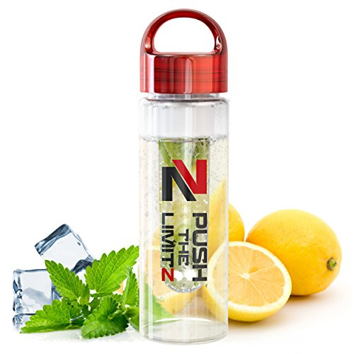 Fruit Infused Water Bottle Detox Edition - Large 24 oz - BONUS Recipe eBOOK INCLUDED - Shatterproof Tritan Material With Easy Twist Carry Handle Lid - By Push The Limitz