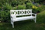 Gartenbank, 3-Sitzer, weiß Holz