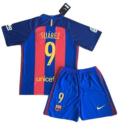 2016-2017-Luis-Suarez-9-FC-Barcelona-Home-Jersey-Shorts-for-KidsYouth-Age-11-13