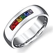 6mm High Polished Classic Domed w/ Rainbow Colored CZ Cubic Zirconia Designer Wedding Band