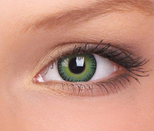Farbige Kontaktlinsen 3-Monatslinsen & Color Contact lenses Gelb - Grün/ Yellow-Green 1 Paar (2 Stück) incl. 60ml Pflegemittel und Behälter!