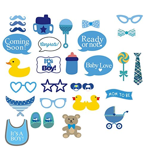 It's A Boy Baby Shower Party Photo Booth Props Kits on Sticks Set of 31pcs