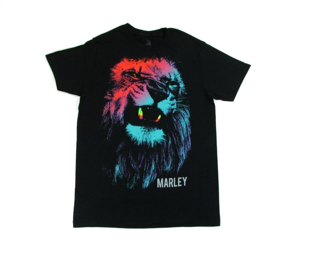 Bob Marley Neon Colored Lion Face Men's Black T-Shirt