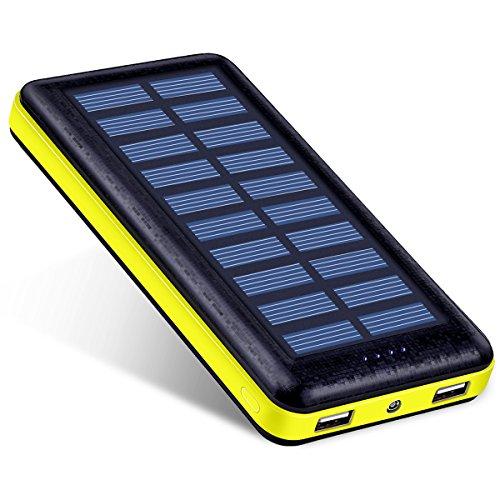 Antun 超大容量22400mAh モバイルバッテリー ソーラーチャージャー ソーラーバッテリー 2USB出力ポート 太陽光で充電 おしゃれなデザイン 地震/災害時/ 旅行/出張などの必携品イエロー