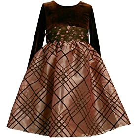 Bonnie Jean Girls 2-6x Long Sleeve Stretch Velvet To Novelty Organza Skirt