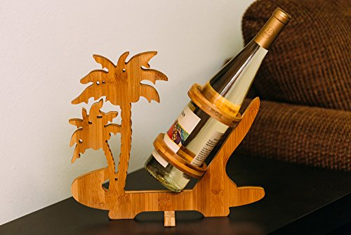 Bamboo Tabletop Hawaii Wine Rack And Bottle Holder
