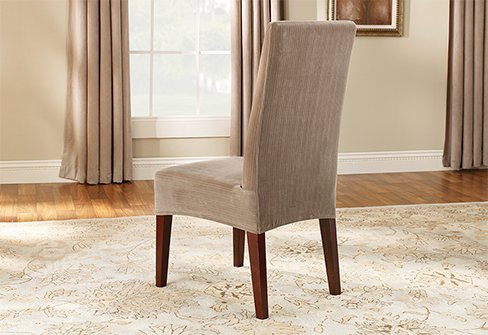 taupe chair covers desk walmart dining slipcovers stretch pinstripe shorty cover