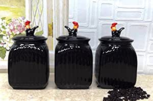 rooster canister sets kitchen brushed nickel hardware amazon.com: tuscany black w/dots, 3 piece ...