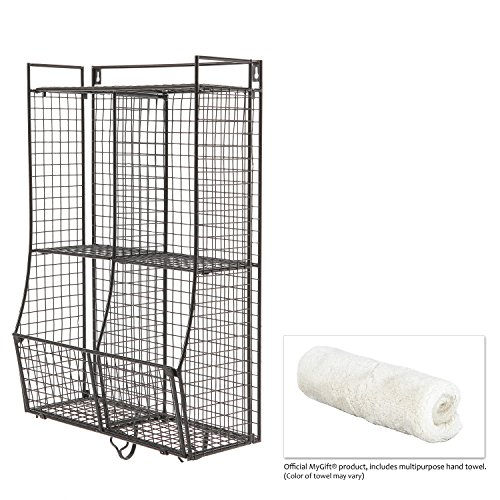 Wall Mounted / Collapsible Black Metal Wire Mesh Storage