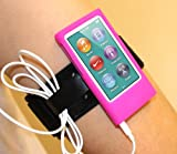 i-Blason Sport Armband and Silicone Case Combo for iPod nano 7th generation + Screen Protector and Wire organizer (2012 September version iPod Nano 7G) Pink Magenta
