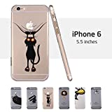 iPhone 6 plus Case, ESR® Mania Series Protective Case Bumper[Scratch-Resistant] [Perfect Fit] Clear Hard Back Cover with Cute Print for 5.5 inches iPhone 6 plus (Naughty Cat)