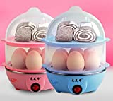 Dual layer electric egg cooker multifunction steamer 14-Eggs capacity blue