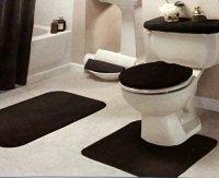 Black Bathroom Rug Set 4 Pc New | eBay