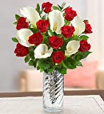1-800-Flowers - Stunning Red Rose & Calla Lily - with Silver Swirl Vase