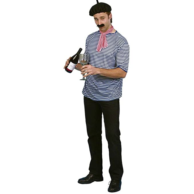 Smiffy's Men's French Man Set with T-Shirt Beret Scarf and Moustache, Multi, One Size