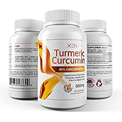 Turmeric Curcumin - Highest Grade, 95% Curcuminoids, 120 Caps - Xen Nutrition - Anti-inflammatory Herbal Supplement - Digestive Aid, Joint Pain Relief, Organic Antioxidant - 650mg, 60 Day Supply