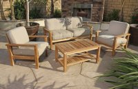 Patio Sets Clearance: 4pc Gili Teak Outdoor Patio Seating ...