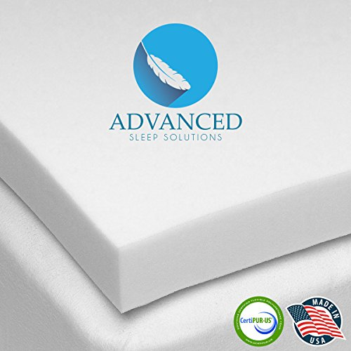 """Advanced Sleep Solutions Memory Foam Mattress Topper 2"""" Inch UltraComfort Full MediumSoft Support Pad CertiPUR-US Approved USA Made"""