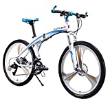 Brand New 601White Blue 26 inch Mens Aluminum Folding Mountain Bike 27 Speeds 3 Spokes