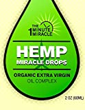 HEMP ORGANIC EXTRACT VIRGIN OIL 1 GLASS BOTTLE WITH DROPPER WITH 2 OZ - By The One Minute Miracle