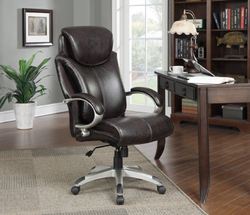 serta office chair 10 year warranty electric lift recliner sale air health and wellness executive chair, big tall, roasted chestnut food ...