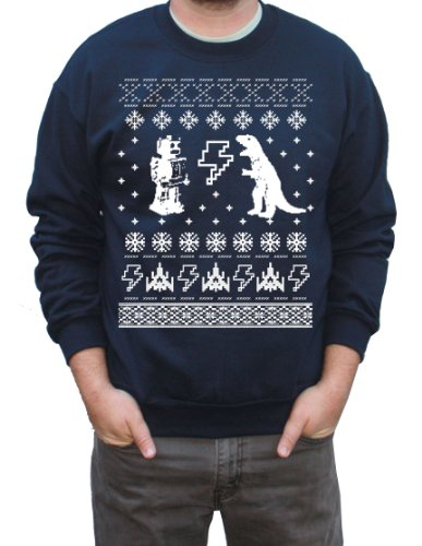 Happy Family Geeky Ugly Christmas Sweater Pullover Sweatshirt (XXL, Navy)