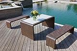 Designer Tischruppe Luiz, Gartenmöbel Set, bestehend aus einem Tisch und 2 Bänke aus wind- und wetterfestem Polyrattan (ohne Glasplatte)