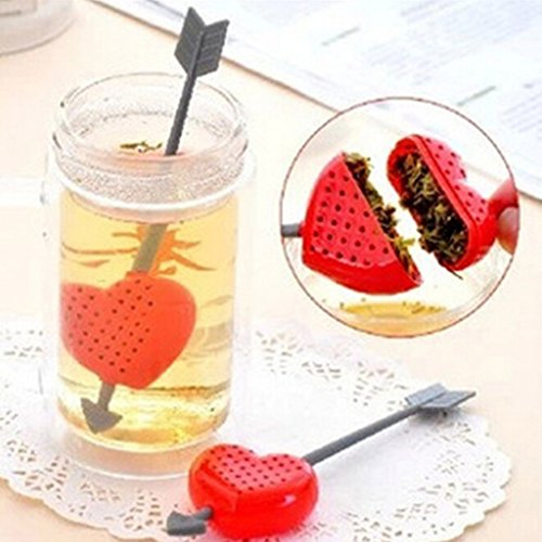 1xMini Arrow Loose Red Rose Tea Bag Infuser Herb Leaf Spice Strainer Filter Diffuser