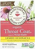 Traditional Medicinals Organic Lemon Echinacea Throat Coat Herbal Wrapped Tea Bags - 16 ct
