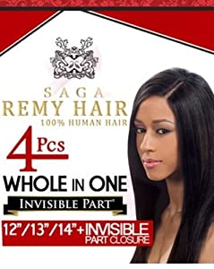 saga remy milky way 100 human hair whole in one 4pcs 12 13 14 plus invisible part