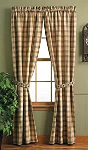 "Pine Lodge Window Curtain Panel 84"" Pinecone Tan Brown ..."