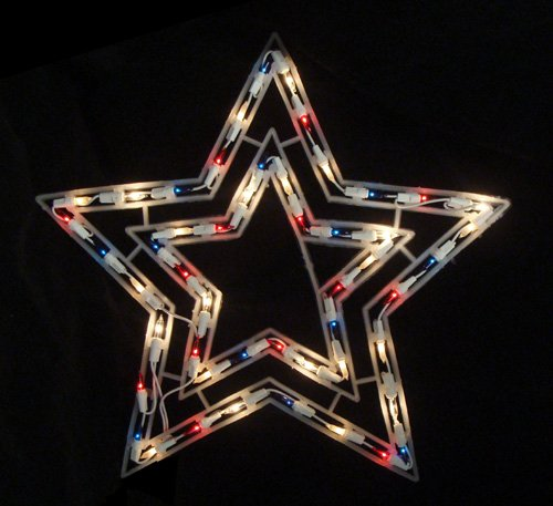 Fourth of July Lighted Window Decorations
