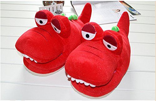 [Paws 'n' Claws] Cute Fuzzy Lovely Crocodile Winter Warm Plush Slippers, Red