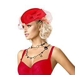 Lady Womens Dress Fascinator Wool Felt Pillbox Hat Party Wedding Bow Veil A082 (Red)