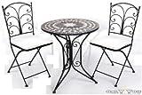 Tisch 2 Stühle Gartenmöbel Sitzgruppe Mosaik Eisen
