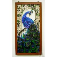 Stained Glass Peacock Feather Wall Art Panel