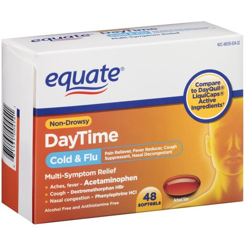 Equate Daytime Cold Flu Softgels 48ct Compare to